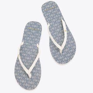 Tory Burch Gemini Link Leather Flip Flop Sandals